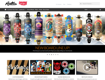 Featured Web Designs: Restless Longboards